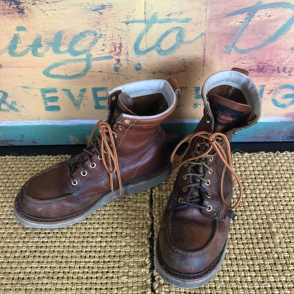 """326b5147f94 8"""" Moc Toe Brown Leather Wedge Work Boots"""